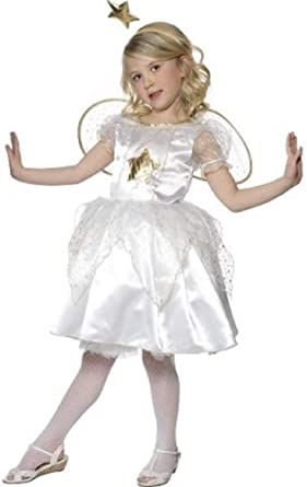 609b1db454 Girls White   Gold Star Fairy Angel Gabriel Christmas Nativity Fancy Dress  Costume Outfit 4-