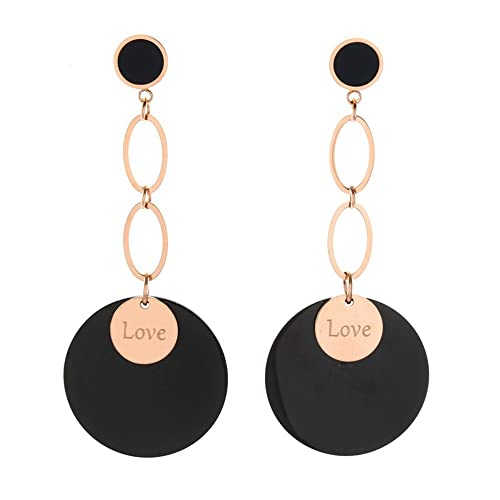 Dana Carrie Amor loco círculo negro aretes colgante larga espiga joyas aretes de luz fría hembra