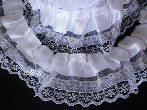 Ruffled Edging (1 Yard 2 inch Wide White Organza Lace Satin Polyester Cotton 3 Layer Ruffled Trim Floral Ribbon Crafts Sewing Fabric Craft Project Making Decorating Dress Dolls)