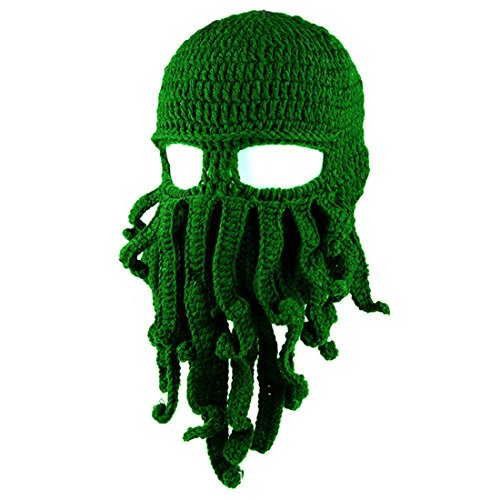 (Tentacle Octopus Face Mask Winter Warm Knitted Squid Beanie Balaclavas,Green)