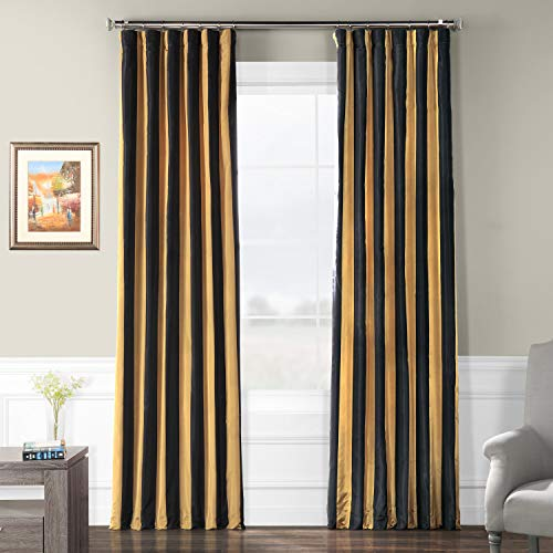 (Half Price Drapes PTSCH-11083-84 Faux Silk Taffeta Stripe Curtain, Regency)