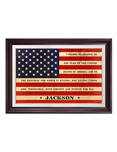 IPIC - American Flag, Personalized Artwork with Family Name and Oath, Perfect Army Family Gift for Independent Day, Thanksgiving and Christmas. Picture size: 30x20