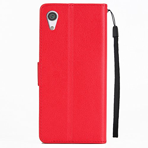 Funda para Sony Xperia XA1 Ultra, SunFay Cover Funda PU Cuero Cubierta Suave con Cierre Magnético Incorporado Case Flip Cover Con Ranuras de Tarjeta para Sony Xperia XA1 Ultra,Rosa Rojo