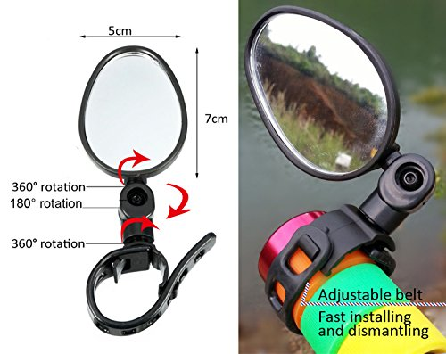 Newlight66 Bike mirror, Adjustable Handlebar Rear View Mirrors for Bicycle Mountain Road Bike by Newlight66 (Image #2)