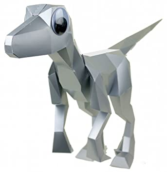Papercraft Dinosaur Puzzle Velociraptor In Silver By Kit Rex
