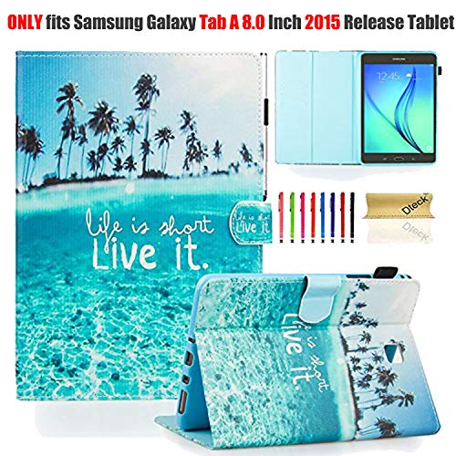 T350 Case, Galaxy Tab A 8.0 2015 Model Case with Stylus Pen, Dteck Cute Flip Stand Cover Protective Smart Wallet Case for Samsung Galaxy Tab A 8 Inch 2015, Not Fit Galaxy Tab A 8.0 2017 Model-Live it