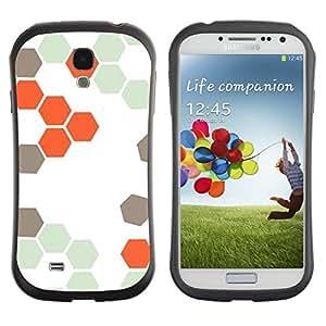 "Hypernova Slim Fit Dual Barniz Protector Caso Case Funda Para SAMSUNG Galaxy S4 IV / i9500 / i9515 / i9505G / SGH-i337 [Patrón Colmena Naranja Blanco Hexágono""]"