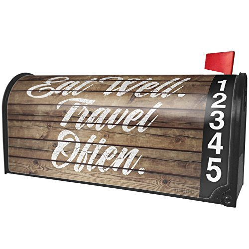 NEONBLOND Painted Wood Eat Well. Travel Often. Magnetic Mailbox Cover Custom Numbers by NEONBLOND