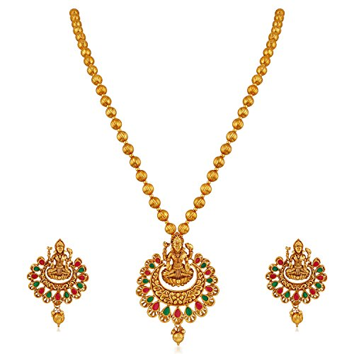 APARA Multicolour Gold Plated Traditional South Indian Laxmi Jewellery Set for Women