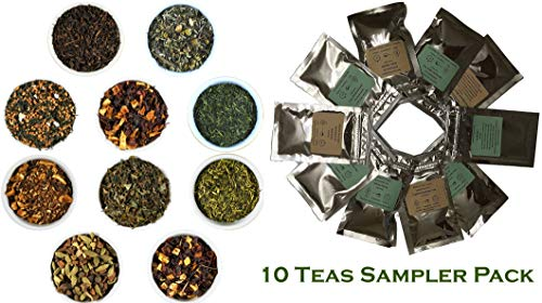 Beantown Tea & Spices - Gourmet Loose Leaf Tea Variety Sampler Set. Pack Of 10 Different Tea Samplers. All Natural. Green Tea, White Tea, Black Tea, Chai and Herbal. Great Gift and Stocking Stuffers.