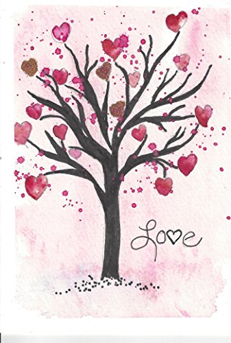 Romantic Blank Note Cards: 6 Artistic All Occasion Watercolor Cards, with Envelopes - Tree of Love
