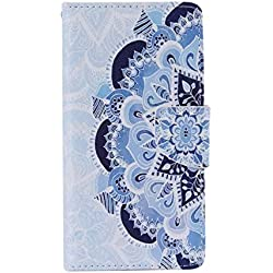 UNEXTATI Xperia Z5 Compact Premium PU Leather Case + Silicone Cover for Sony Xperia Z5 Compact, Slim-Fit Wallet Case with Card-Slot, Kickstand, Magnet Clip (Blue, Flower)