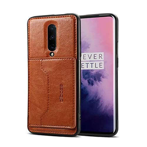 OnePlus 7 Pro Case, Slim Fit Magnetic Back Flip Stand Card Holder Wallet PU Leather Hybrid TPU Full Frame Shock Absorption Protective Cover Case for OnePlus 7 Pro (Brown)