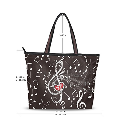 Imported Top Handle Bags - Women Large Tote Top Handle Shoulder Bags Music Notes Ladies Handbag M