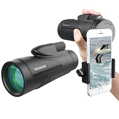 Sunba Youth 12X50 High Power Prism Monocular Telescope, Waterproof Fogproof Shockproof Scope -BAK4 FMC Prism with Smartphone Adapter and Tripod for Bird Watching Hunting Camping Traveling Scenery by Sunba Youth