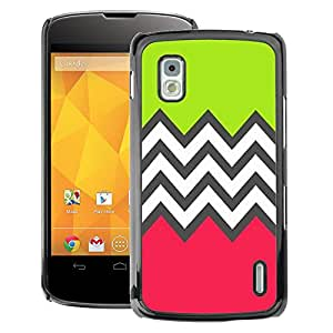 A-type Arte & diseño plástico duro Fundas Cover Cubre Hard Case Cover para LG Nexus 4 E960 (Green Pink White Pattern)
