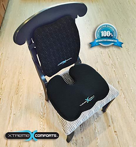 Xtreme Comforts Original Coccyx Orthopedic Memory Foam Seat Cushion with 100% Memory Foam Lumbar Cushion by Xtreme Comforts (Image #2)
