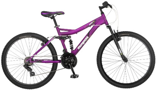 Mongoose Women's Status 2.2 Full Suspension Bicycle (26-Inch Wheels), Matte Purple, 16-Inch