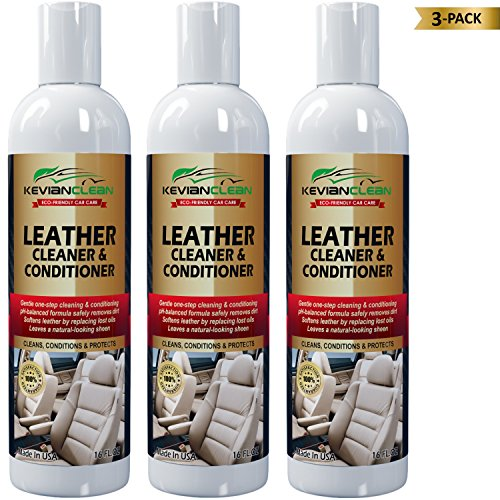 KevianClean Leather Cleaner and Conditioner 16 oz. (3 PACK) - For Real, Genuine, Vegan, PU & Faux Car Leather-Ideal Treatment for Furniture, Sofa, Couch, Jacket, Handbag, Motorcycle & More