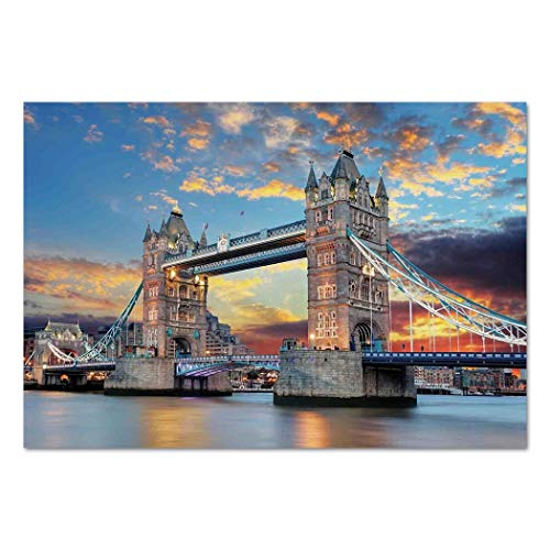 Large Wall Mural Sticker [ London,Vista of Tower Bridge at Dramatic Sunset Thames River with Grey Clouds,Light Blue Yellow Tan ] Self-adhesive Vinyl Wallpaper / Removable Modern Decorating Wall Art