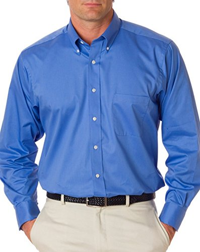 Van Heusen Mens Long Sleeve Button Down Baby Twill Dress Shirt - Colors (L, Royal Blue) for $<!--$39.08-->