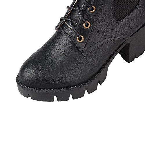 AllhqFashion Mujeres Tacón Medio Sólido Puntera Redonda Material Suave Cordones Botas Negro