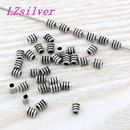 Pukido 1000Pcs Antique Silver Zinc Alloy Spiral Tube Beads Spacer Bead Findings 3.5X 4.8mm DIY Jewelry D22 - (Color: Antique Silver, Item Diameter: 3.5x4.8mm)