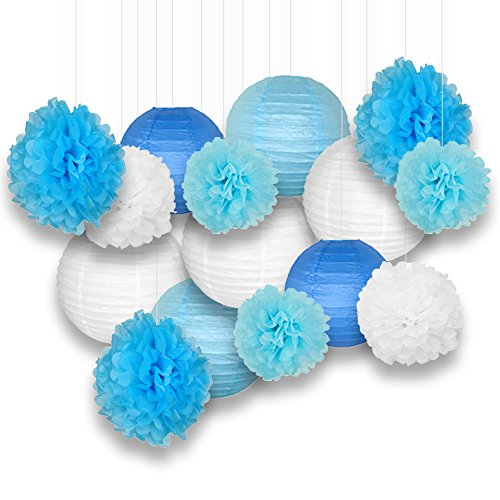 Just Artifacts Decorative Paper Party Pack (15pcs) Paper Lanterns and Pom Pom Balls - White/Blues - Paper Lanterns and Décor for Birthday Parties, Baby Showers, Weddings and Life Celebrations!