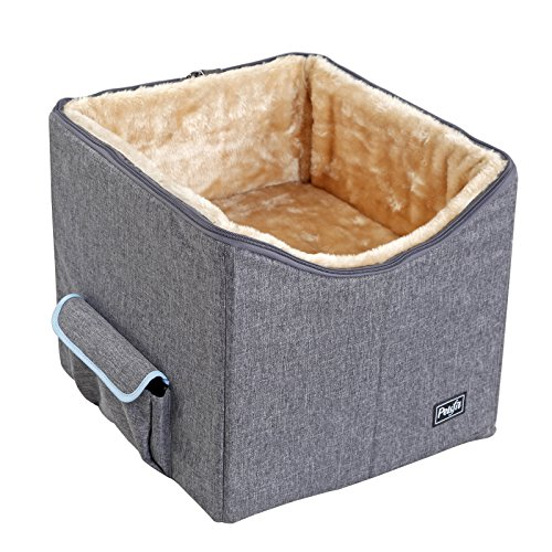 Petsfit Pet Booster Seat/Lookout Car Seat for Small Dogs and Cats up to 15 Pounds,With Pockets (Gray) 15''Lx16''Wx14''H Small by Petsfit (Image #1)