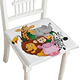 HuaWuhome Cushion Coon Safari Animals Home Kitchen Office Chair Pads Seat Pads 26''x26''x2pcs