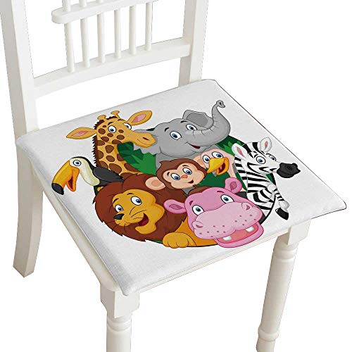 HuaWuhome Cushion Coon Safari Animals Home Kitchen Office Chair Pads Seat Pads 26''x26''x2pcs by HuaWuhome