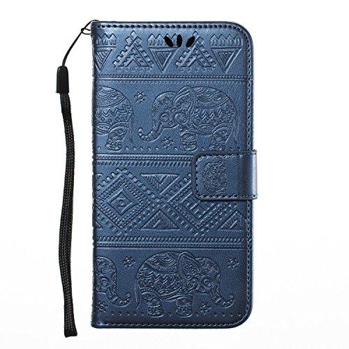 Funda para Samsung J3 2017, CaseLover Piel Libro Cuero Elefante Impresión Carcasa para Samsung Galaxy J3 2017 J330 con TPU Silicona Case Cover Interna Suave Flip Folio Tapa y Cartera Cierre Magnético, Azul Oscuro