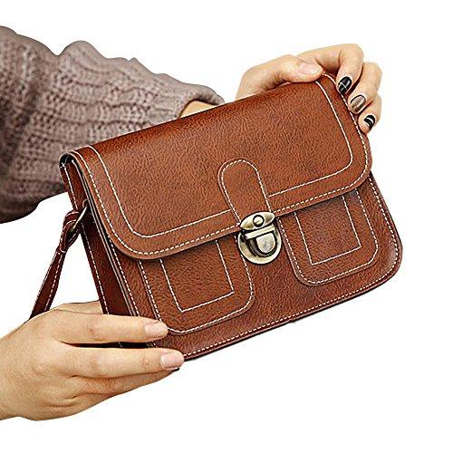 Feixiang - Bolso al hombro de Lona para mujer marrón claro