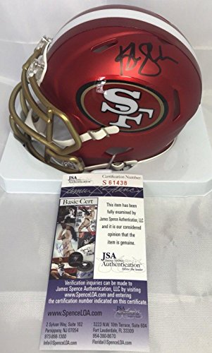 Kyle Shanahan Autographed Helmet   Blaze Mini Riddell San Francisco 49Ers Red Coach Jsa   Autographed Nfl Helmets