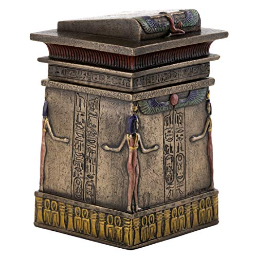 Top Collection Antique Egyptian Canopic Shrine Trinket Box Replica - Hand Painted Ancient Egypt Process of Mummification Chest in Premium Cold Cast Bronze - 5.75-Inch Protected Goddess Ash Coffin