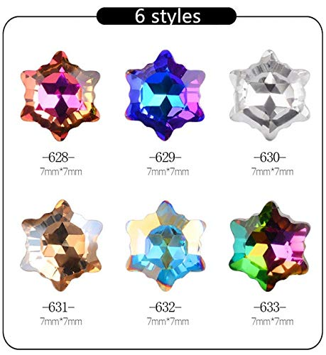 Kamas 5pcs New Christmas Ornament Snowflake Shaped Diamond Nail Diamond Applique Shiny Pointer Jewelry 6 Nail Kamas (Color: 6pcs628-633)