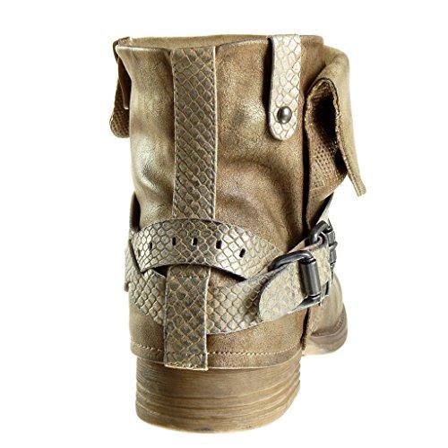 Angkorly Damen Schuhe Stiefeletten - Biker - Reitstiefel - Kavalier - Schlangenhaut - String Tanga - Nieten - Besetzt Blockabsatz 3 cm Gold
