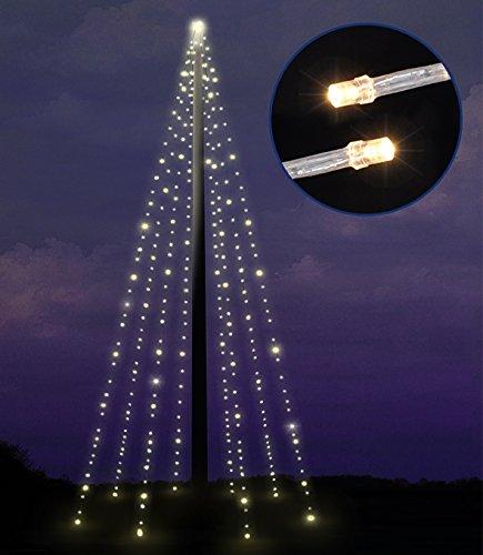 LED Lichterkette für Fahnenstangen mit 400 LED warmweiss, 8 Stränge 10 Meter, für Außen