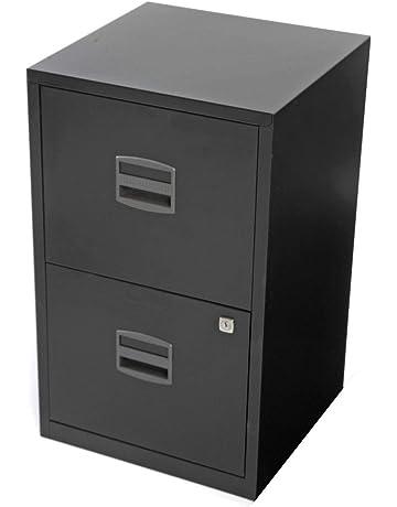 OFITURIA ® Archivador Metálico Organizativo De Oficina Negro con 2 Cajones para Carpetas DIN A4 Y