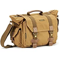 SLR Camera Camera Evecase Large Canvas Messenger SLR/DSLR Camera Shoulder Bag with Rain Cover for Digital Cameras, Laptops and other Accessories - Brown