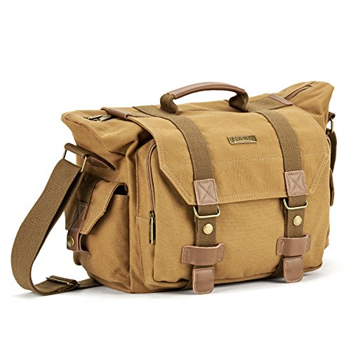 SLR Camera Bag Evecase Large Canvas Messenger SLR/DSLR Camera Shoulder Bag with Rain Cover for Digital Cameras, Laptops and other Accessories - Brown