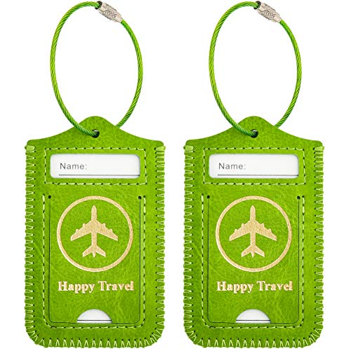 - WALNEW Luggage Tag- Initial Bag Tag with Stainless Steel Loop Suitcase Label 2 Pieces Set (Green, 2 Piece)