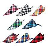 8 Pack Pet Dog Bandana Triangle Bibs Scarf, YuCool Washable Reversible Cotton Classic Plaid Patterns Kerchief for Small/Medium Dogs Cats Pets Animals