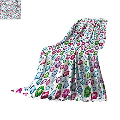 ZOMOY Diamond Super Soft Lightweight Blanket Heart and Geometric Shaped Colorful Little Diamonds Precious Gemstones Crystals Pattern Summer Quilt Comforter 60