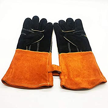 YFINE Soldadura eléctrica Guantes Resistentes a Altas temperaturas Barbacoa Horno de microondas con Aislamiento Dos Colores Costura Cocina Guantes de ...