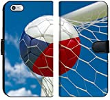 Luxlady iPhone 6 and iPhone 6S Flip Fabric Wallet Case Image ID: 34479465 Czech Republic Flag and Soccer Ball Football in Goal net
