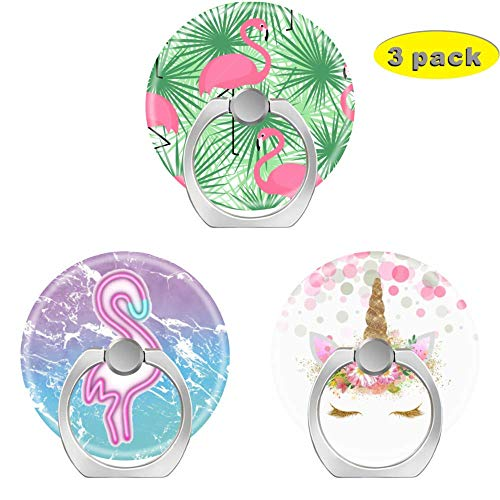 Cell Phone Holder Socket,Finger Ring Pop Kickstand with Car Mount Grip for Phones,Cases,Tablets Tropical Pink Flamingo Purple Turquoise Ombre Watercolor Mermaid Marble Cute Unicorn face]()
