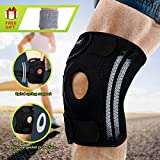 Knee Brace, Compression Knee Sleeve with Strap & 4 Flexible Spring Stabilizers for Best Support Free Gift for Wrist Brace Meniscus Tear Patella and LCL Knee Brace for Basketball Running Weight Lifting