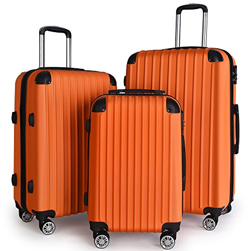 Luggage Set Carry On with Spinner Suitcase 20″ 24″ 28″ (Orange)