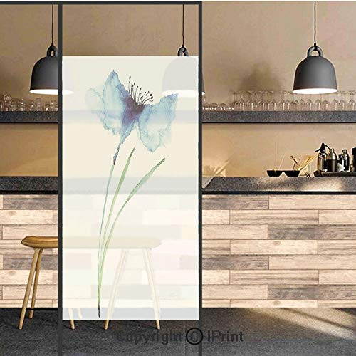 3D Decorative Privacy Window Films,Petite Tall Cornflower Summer Botanic Floral Blooming Plants Artsy Print,No-Glue Self Static Cling Glass Film for Home Bedroom Bathroom Kitchen Office 17.5x71 Inch